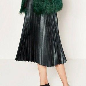 Zara Woman Metallic Green Pleated Midi Skirt M